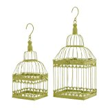 Deco 79 Metal Square Bird Cage, 19 by 15-Inch, Green, Set of 2