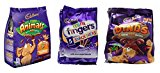 Cadbury Mini Chocolate Snack Selection Pack. Animals, Dinos Dinosaur & Mini Fingers. 17 small bags for Kid's Parties, lunch boxes, Snacks.
