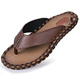 Yc Top Men's Sandals Genuine Leather Outdoor Casual Flip-flops Size 7.5 UK Brown