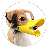Enjoymore Pet Dog Muzzle Ultra-Soft Silicone Duckbill Mouth Sleeve Anti-biting Barking Pet Dog Adjustable Safety Muzzle Duckbill Sleeve Yellow S