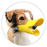 Enjoymore Pet Dog Muzzle Ultra-Soft Silicone Duckbill Mouth Sleeve Anti-biting Barking Pet Dog Adjustable Safety Muzzle Duckbill Sleeve Yellow S