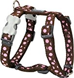 Red Dingo Desinger Dog Harness, Pink Spots on Brown (12mm x Neck: 25-39cm / Body 30-44cm) S