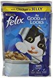 Felix As Good As It Looks Wet Cat Food Chicken in Jelly Pouch, 20 x 100 g