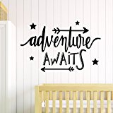 V&C Designs (TM) Adventure Awaits Beautiful Wall Sticker Wall Quote Lettering Vinyl Decal Mural, Ideal Baby & Toddler Room Decoration Decor, Various Colours Available
