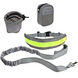 PYRUS Hands Free Dog Lead Reflective Traction Kit Waist Leads Perfect for Hands Free Walking - Premium Reflective Dog Leash for Running Jogging or Walking (Gray)