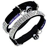 Posh Petz® Luxury Velvet Diamante Rhinestone Jewellery Cat Safety Collar - Black