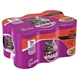 Whiskas 1+ Years Cat Food Cans Meat Selection in Gravy, 6 x 400g