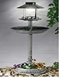 GARDEN ORNAMENTAL BIRD FEEDER BATH HOTEL FEEDING TABLE STATION SOLAR LIGHT