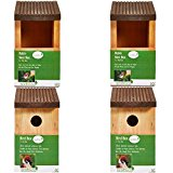 Scott & Co. Wooden Bird Nest Box and Wooden Robin Nest Box - Natural(Pack of 4)