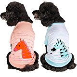 Blueberry Pet Henry the Zebra Cotton Dog Shirt in Aquamarine, Back Length 14