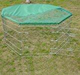 PAWHUT 5FT RABBIT GUINEA PIG ANIMAL PET DOG PLAYPEN PLAY PEN RUN ENCLOSURE MEDIUM CAGE HUTCH WITH SUN PROTECTION NET 63(W)x76(H)cm