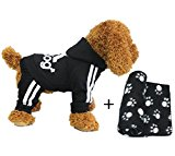YAAGLE Pet Warm Sweater Hoodie Coat Sweatshirt Clothes Costume Apparel for Dog Puppy Cat,Black,M+Blanket