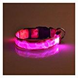 SODIAL(R) Pink S, Pets Dog LED Leopard Night Safety Collar Adjustable