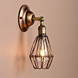 KINGSO E27 Industrial Vintage Style Iron Birdcage lampshade Wire Cage Lamp Hanging Rustic Metal Shade Wall Lamp Fixture Red Bronze