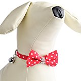 PUPTECK Adjustable Breakaway Polka Dot Pet Cat Collar Accessory with Bow Tie Red