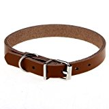 Collar - SODIAL(R) Leather collar for dogs cats puppy animal XS Brown