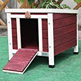 Petsfit Rabbit/Cat/Dog/Puppy/Guinea Pig/Small Animal Wooden House, Rabbit Hutch, Guinea Pig Hutch, Red Color, 40cm x 50cm x 43cm