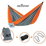 Camping Hammock - Portable Double Strong Nylon Parachute for Traveling, Hiking, Backpacking, Climbing & Outdoor Sleeping - Lightweight - Hammock Straps & Steel Carabiners Included - Easy to Install.