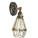 KINGSO E27 Industrial Vintage Style Iron Birdcage lampshade Wire Cage Lamp Hanging Rustic Metal Shade Wall Lamp Fixture Bronze