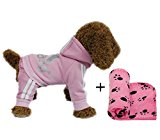 YAAGLE Pet Warm Sweater Hoodie Coat Sweatshirt Clothes Costume Apparel for Dog Puppy Cat,Pink,S+Blanket