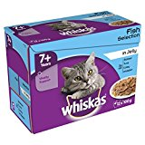 Whiskas Senior Fish Selection in Jelly 12 x 100 g (Pack of 4, Total 48 Pouches)