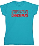 HippoWarehouse A Rabbit Is For Life Not Just For Christmas womens fitted short sleeve t-shirt