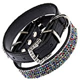 Posh Petz® Diamante Bling Rainbow Crystal Rhinestone Luxury Dog Collar - Black (L 12.5-16