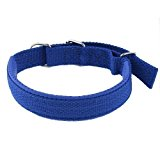 Single Pin Buckle Adjustable Foam Coated Pet Dog Collar Rope Blue