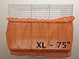 Bird Cage Tidy Seed Catcher Skirt Guard Pile Fabric Double Strap - Orange - Extra Large