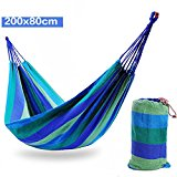 Outdoor Portable Canvas Fabric Travel Camping Hammock Blue 200*80cm