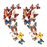 Forepin® 24 Pcs 3D Magnet Butterfly Wall Stickers Collection Crafts DIY Fridge Magnets Art Decoration for Room Wall Decor with Stick Glue - Colorful Butterflies