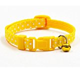 Adjustable Nylon Pet Collar Portable Personalized Dog Collar with 6 Colors,Small,Collars for Dogs,Yellow