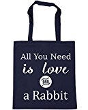 HippoWarehouse All You Need is Love and a Rabbit Tote Shopping Gym Beach Bag 42cm x38cm, 10 litres
