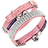 Posh Petz® Luxury Velvet Diamante Rhinestone Jewellery Cat Safety Collar - Pink