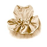 Urparcel Dog Cat Bow Tutu Dress Lace Skirt Pet Puppy Dog Clothes Costume Gold S