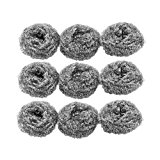 Magentoo(TM) 9 Pcs Silver Tone Stainless Steel Wire Kitchen Pot Scrubber by uxcell