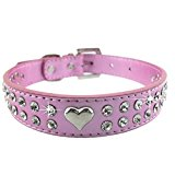 Dog Collars - BADALink 1 Row Bling Rhinestone Heart Studded Adjustable PU Leather Dog Collar with Shinny Sparkle Diamonds for Pet Dog - Pink