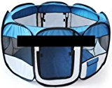 BUNNY BUSINESS Fabric Playpen for Rabbits Guineas Run Hutch Foldable, Blue