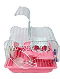 WUNDAPETS M011 SMALL DWARF HAMSTER MOUSE 2 LEVEL CAGE PINK OR BLUE WHEEL BOWL (PINK M011)