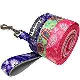 Blueberry Pet Lead with Soft & Comfortable Handle, 150 cm x 2cm Paisley Flower Print Dog Lead in Emerald Green, Medium, Leads for Dogs, Matching Collar & Harness Available Separately