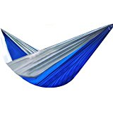 Parachute Hammock Nylon Sleeping Bed Swing Outdoor Camping Travel Royal Blue&Gray