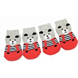 Red/Grey Bear Dog Socks - 4 Sizes