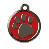 Engraved Design Large Tag - Paw Red - FREE FIRST CLASS POST, Fast Delivery, For engraving instructions see 'Product Description'