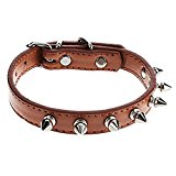 ZoonPark® Pet Dog Collar,Cool Puppy Cat Dog Rivet Pattern PU Leather Collar Adjustable Pet Puppy Dog Collars for Small Dog or Medium Dogs (XS, Brown)