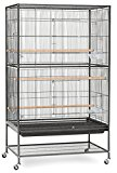 Extra Large Wrought Iron Flight Multiple Parakeets, Canaries, Finches, Sugar Glider Bird Cage 1/2-Inch Wire Spacing With Rolling Stand *Black Vein* by Mcage