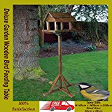 GardMax PREMIUM WOODEN BIRD TABLE PORTABLE FEEDING STATION DELUXE FEEDER FREE STANDING