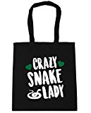 HippoWarehouse Crazy snake lady Tote Shopping Gym Beach Bag 42cm x38cm, 10 litres
