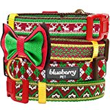 Blueberry Pet Christmas Party Fair Isle Style Dog Collar with Detachable Bow Tie, Neck 30cm-40cm, Small, Holiday Collars for Dogs