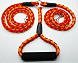 Double Dog Lead for 2 Dogs. Tangle free leash with Comfortable Foam Handle. (Red Orange)