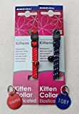 ANCOL KITTEN COLLAR & BELL, WITH A PET ID TAG ENGRAVED BOTH SIDES FREE (Red)